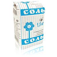 Соль кухонная каменная пищевая, 1500г, картон