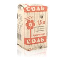 Соль каменная пищевая йодированная, 1500 г., картон