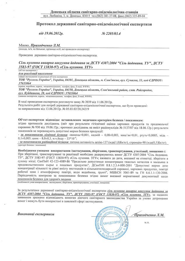 Соль кухонная вываренная йодированная Протокол ГСЭС 2205/03.4